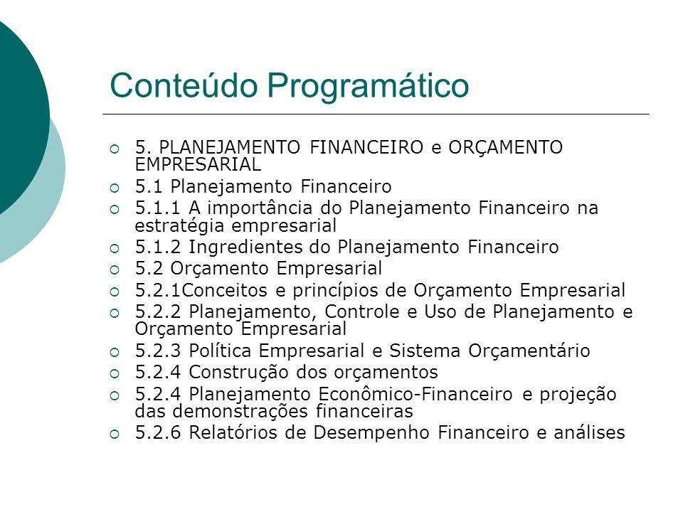 Conteúdo Programático 5. PLANEJAMENTO FINANCEIRO e ORÇAMENTO EMPRESARIAL 5.1 Planejamento Financeiro 5.1.1 A importância do Planejamento Financeiro na