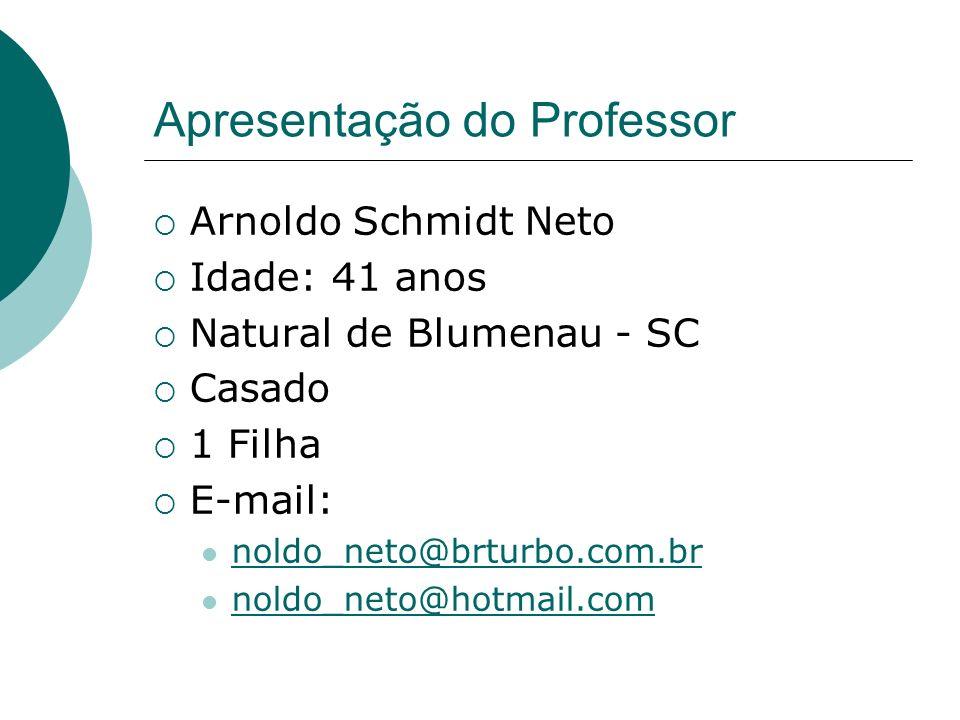 Apresentação do Professor Arnoldo Schmidt Neto Idade: 41 anos Natural de Blumenau - SC Casado 1 Filha E-mail: noldo_neto@brturbo.com.br noldo_neto@hot
