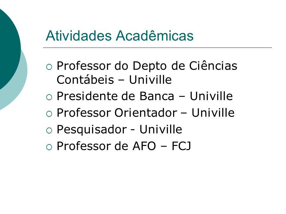 Atividades Acadêmicas Professor do Depto de Ciências Contábeis – Univille Presidente de Banca – Univille Professor Orientador – Univille Pesquisador -