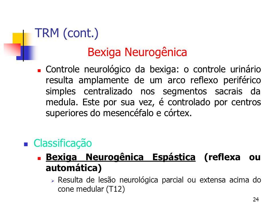 24 TRM (cont.) Bexiga Neurogênica Controle neurológico da bexiga: o controle urinário resulta amplamente de um arco reflexo periférico simples centralizado nos segmentos sacrais da medula.