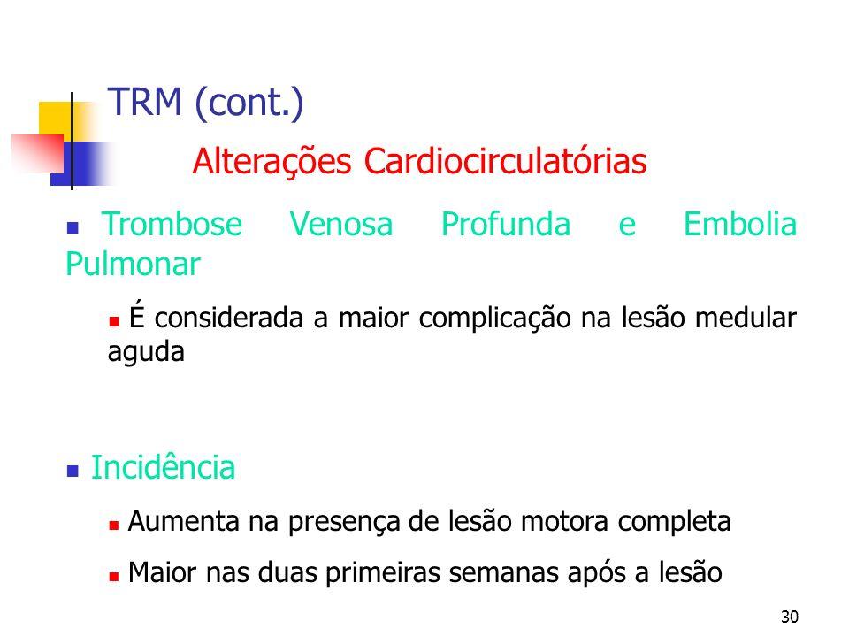 30 TRM (cont.) Alterações Cardiocirculatórias Trombose Venosa Profunda e Embolia Pulmonar É considerada a maior complicação na lesão medular aguda Incidência Aumenta na presença de lesão motora completa Maior nas duas primeiras semanas após a lesão
