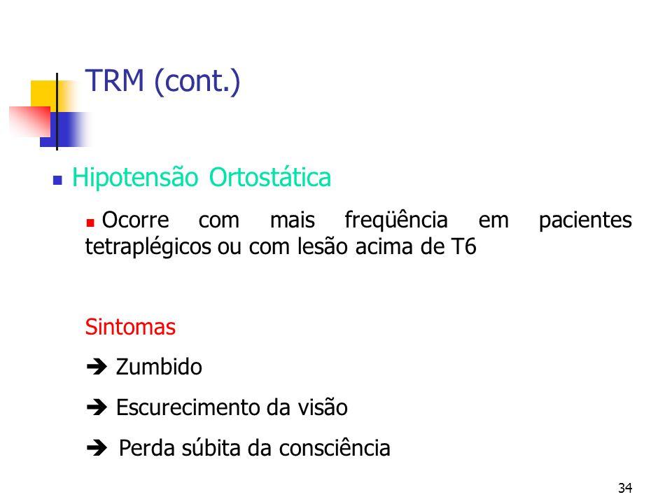 34 TRM (cont.) Hipotensão Ortostática Ocorre com mais freqüência em pacientes tetraplégicos ou com lesão acima de T6 Sintomas Zumbido Escurecimento da visão Perda súbita da consciência