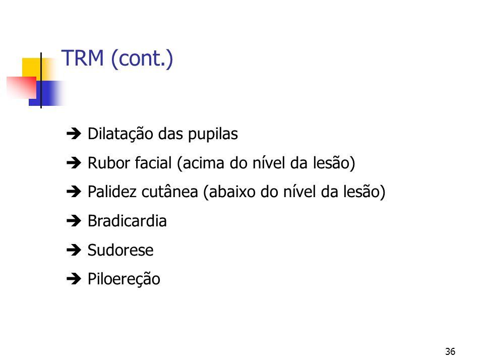 36 TRM (cont.) Dilatação das pupilas Rubor facial (acima do nível da lesão) Palidez cutânea (abaixo do nível da lesão) Bradicardia Sudorese Piloereção