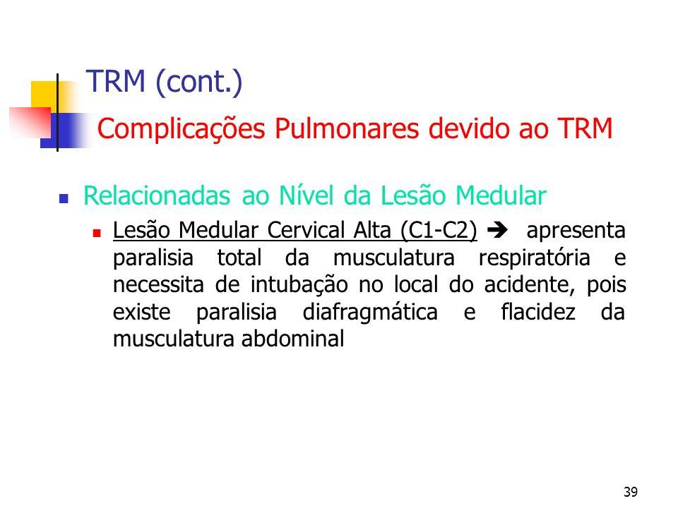 39 TRM (cont.) Complicações Pulmonares devido ao TRM Relacionadas ao Nível da Lesão Medular Lesão Medular Cervical Alta (C1-C2) apresenta paralisia total da musculatura respiratória e necessita de intubação no local do acidente, pois existe paralisia diafragmática e flacidez da musculatura abdominal