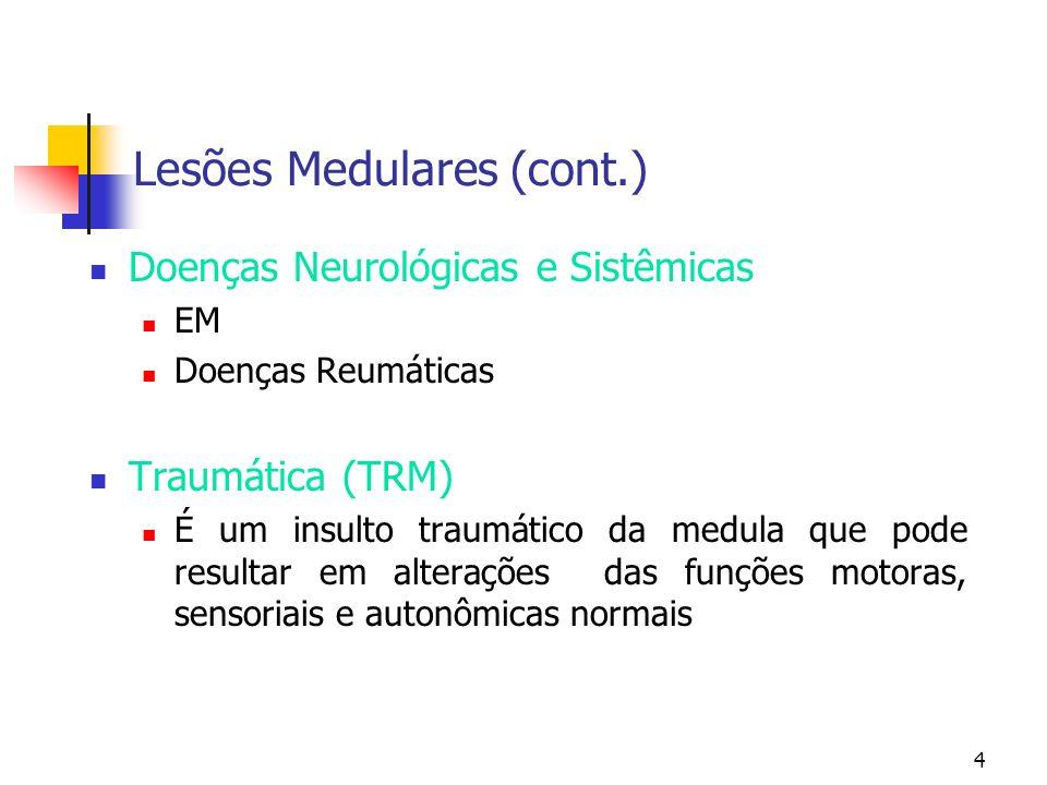 4 Doenças Neurológicas e Sistêmicas EM Doenças Reumáticas Traumática (TRM) É um insulto traumático da medula que pode resultar em alterações das funções motoras, sensoriais e autonômicas normais