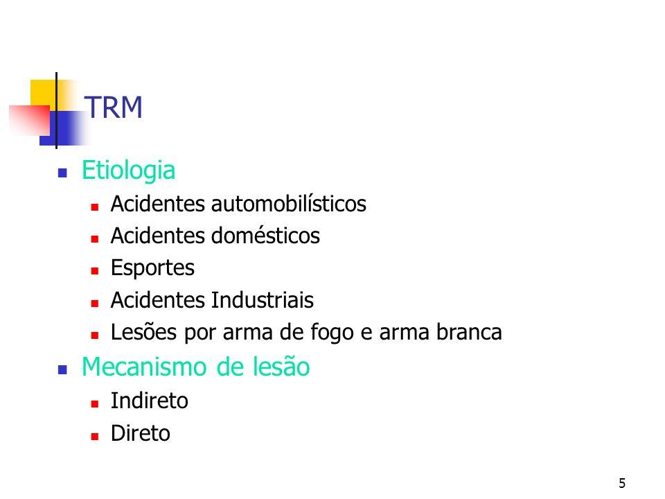 5 TRM Etiologia Acidentes automobilísticos Acidentes domésticos Esportes Acidentes Industriais Lesões por arma de fogo e arma branca Mecanismo de lesão Indireto Direto
