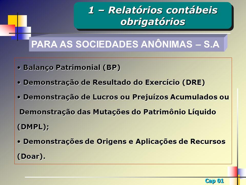 Cap 01 PARA AS SOCIEDADES ANÔNIMAS – S.A Balanço Patrimonial (BP) Balanço Patrimonial (BP) Demonstração de Resultado do Exercício (DRE) Demonstração d