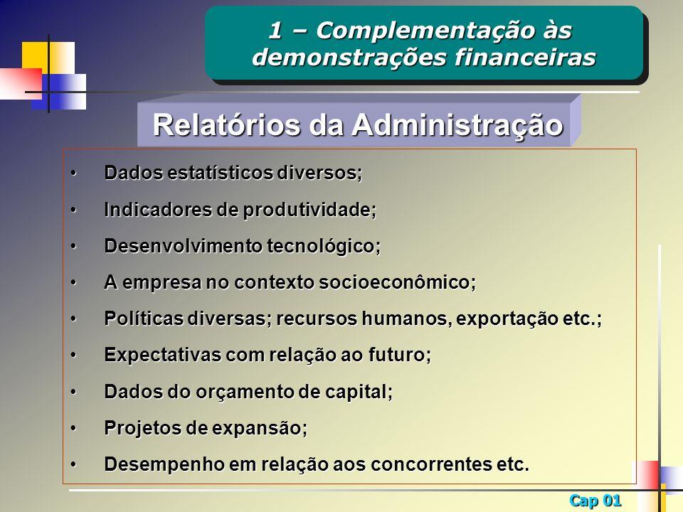 Cap 01 Relatórios da Administração Relatórios da Administração Dados estatísticos diversos;Dados estatísticos diversos; Indicadores de produtividade;I