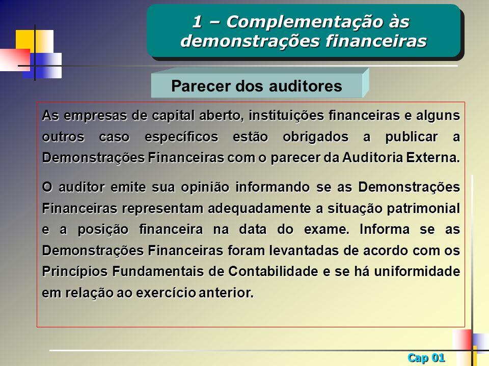Cap 01 Parecer dos auditores As empresas de capital aberto, instituições financeiras e alguns outros caso específicos estão obrigados a publicar a Dem