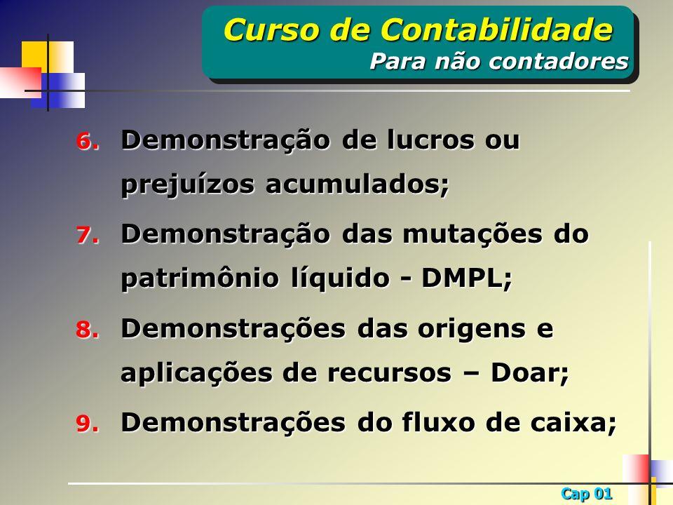 Cap 01 6. Demonstração de lucros ou prejuízos acumulados; 7. Demonstração das mutações do patrimônio líquido - DMPL; 8. Demonstrações das origens e ap