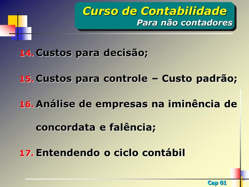 Cap 01 1.1 – Importância da tomada de decisão; 1.2 – Demonstrações financeiras e relatórios contábeis; 1.3 – Complementação às demonstrações financeiras.