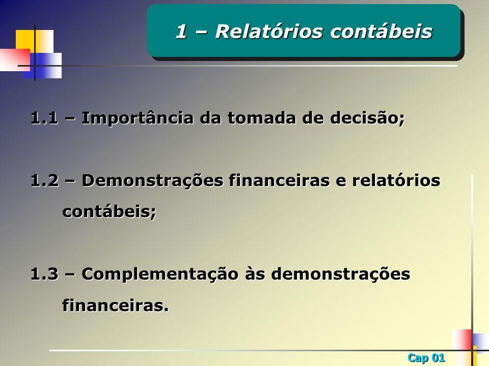 Cap 01 1.1 – Importância da tomada de decisão; 1.2 – Demonstrações financeiras e relatórios contábeis; 1.3 – Complementação às demonstrações financeir