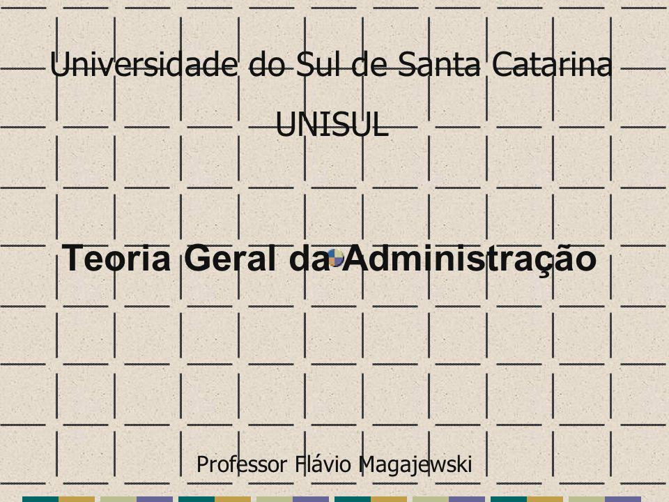 Teoria Geral da Administração Universidade do Sul de Santa Catarina UNISUL Professor Flávio Magajewski