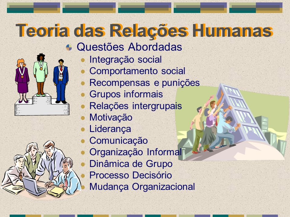 Teoria das Relações Humanas Questões Abordadas Integração social Comportamento social Recompensas e punições Grupos informais Relações intergrupais Mo