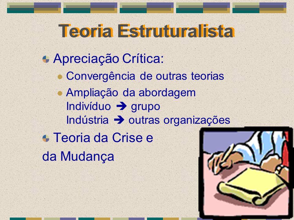 Teoria Estruturalista Apreciação Crítica: Convergência de outras teorias Ampliação da abordagem Indivíduo grupo Indústria outras organizações Teoria d