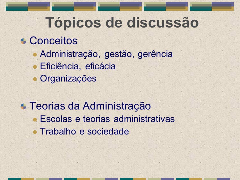 Tópicos de discussão Conceitos Administração, gestão, gerência Eficiência, eficácia Organizações Teorias da Administração Escolas e teorias administra
