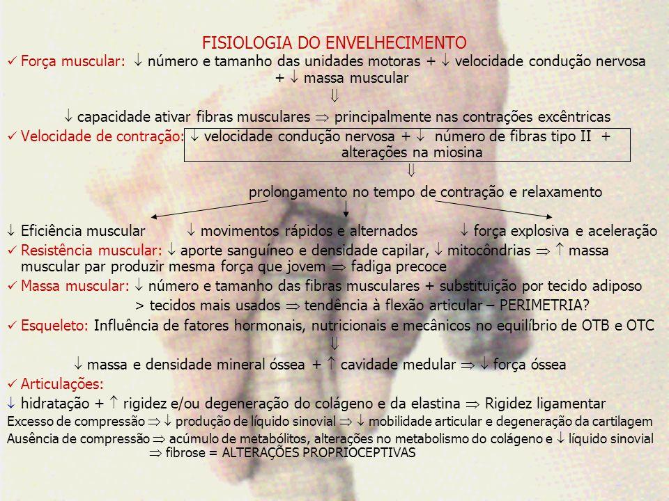 FISIOLOGIA DO ENVELHECIMENTO 5) Conformação e composição corporal: estatura Crescimento da cartilagem do nariz e orelhas melanócitos queratinócitos vascularização e gls sudoríparas hidratação manchas cicatrização e fragilidade pele termorregulação ressecamento 6) SISTEMA NERVOSO: peso córtex número de neurônios: fisiologicamente sem repercussão clínica Alterações nos neurotransmissores: necessidade de maiores esclarecimentos velocidade de condução nervosa e desmielinização grandes fibras velocidade de informação sensorial e tempo de resposta motora.