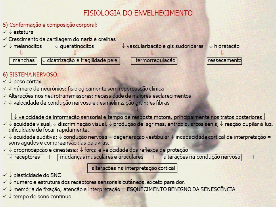 FISIOLOGIA DO ENVELHECIMENTO 7) SISTEMA CARDIOVASCULAR: número e tamanho dos miócitos: incapacidade de suprimento vascular/O2 = ISQUEMIA deposição de lípideos nos miócitos fibrose e calcificação nas válvulas colágeno, fibrose, cálcio e lípides nos vasos, elastina e espessura das células lisas capacidade de vasodilatação RVPT IsquemiaHipertrofia cardíaca Hipertensão sistólica número de células marcapasso, tecido fibroso nos tecidos de condução e sensibilidade beta adrenérgica = ARRITMIA + complacência ( enchimento) = CONTRATILIDADE FC E DC REPERCUSSÕES: reservas cardíacas capacidade de adaptação ao estresse PAPEL DO EXERCÍCIO Fadiga precoce FÍSICO ADEQUADO VO2 máx.