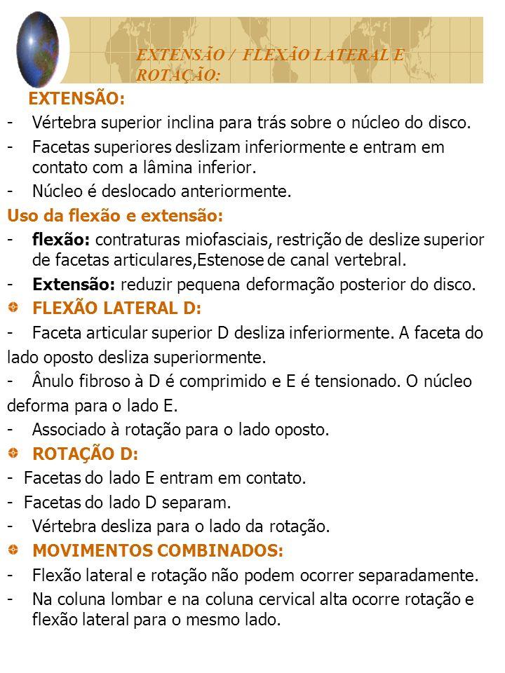 EXTENSÃO / FLEXÃO LATERAL E ROTAÇÃO: EXTENSÃO: -Vértebra superior inclina para trás sobre o núcleo do disco.