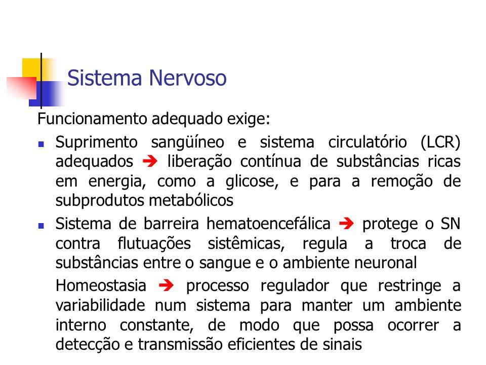 Sistema Nervoso Funcionamento adequado exige: Suprimento sangüíneo e sistema circulatório (LCR) adequados liberação contínua de substâncias ricas em e