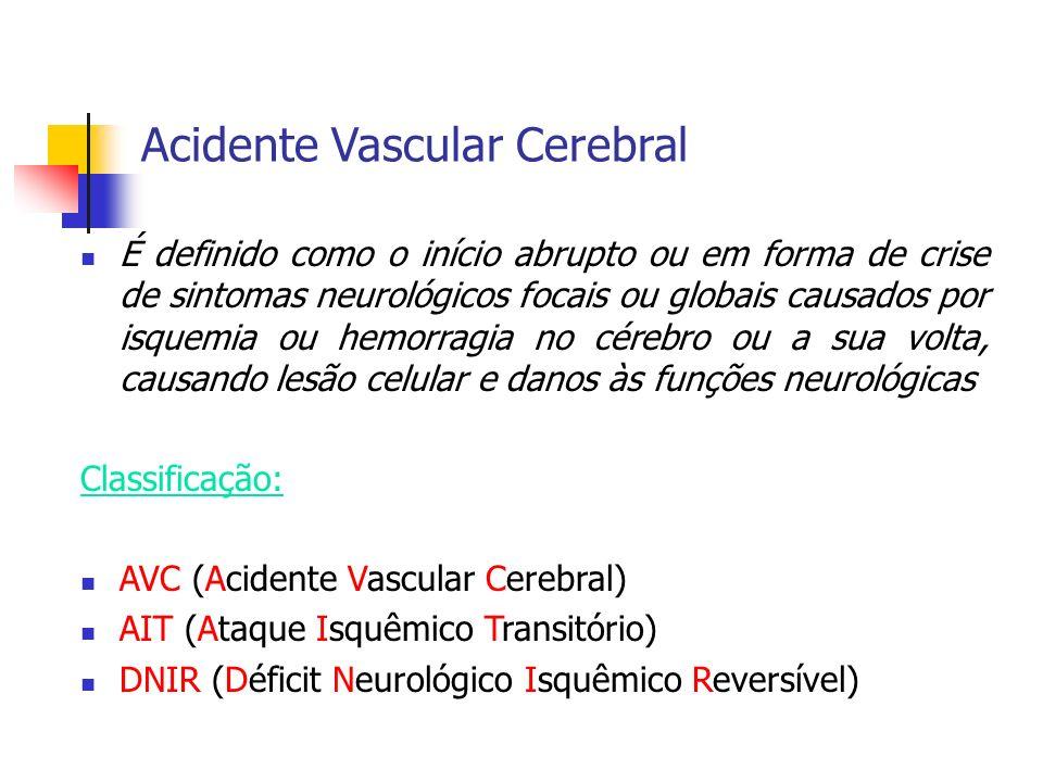 Acidente Vascular Cerebral É definido como o início abrupto ou em forma de crise de sintomas neurológicos focais ou globais causados por isquemia ou h