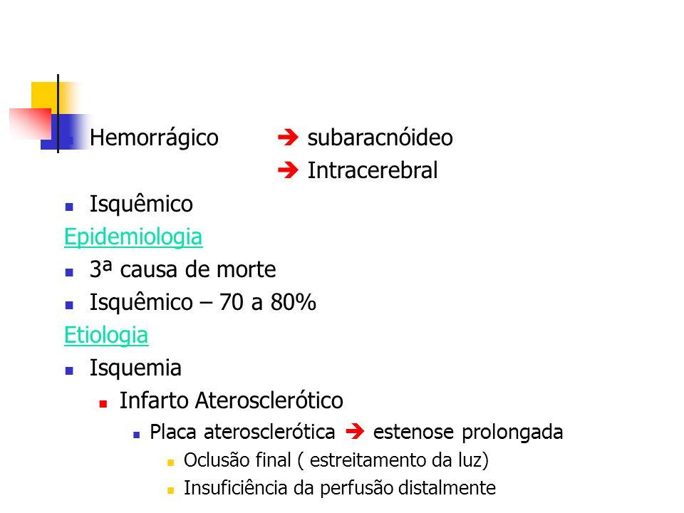 Hemorrágico subaracnóideo Intracerebral Isquêmico Epidemiologia 3ª causa de morte Isquêmico – 70 a 80% Etiologia Isquemia Infarto Aterosclerótico Plac