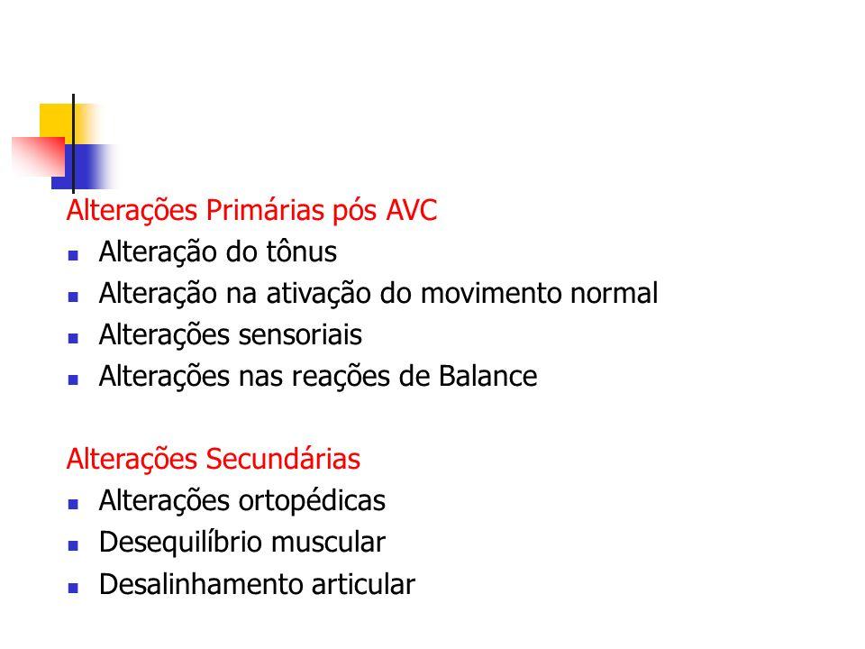 Alterações Primárias pós AVC Alteração do tônus Alteração na ativação do movimento normal Alterações sensoriais Alterações nas reações de Balance Alte