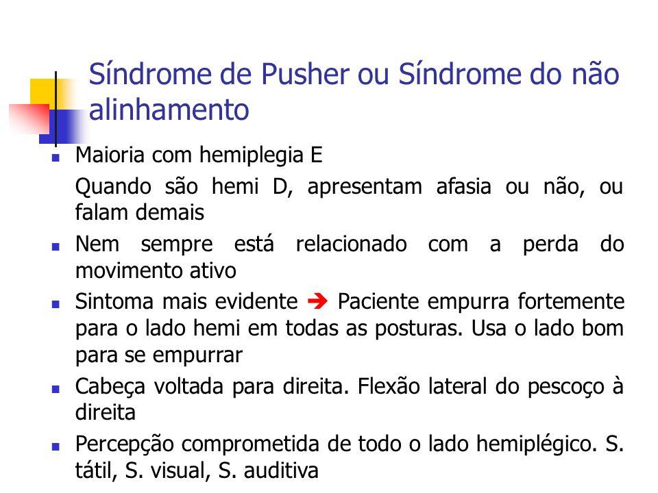 Síndrome de Pusher ou Síndrome do não alinhamento Maioria com hemiplegia E Quando são hemi D, apresentam afasia ou não, ou falam demais Nem sempre est