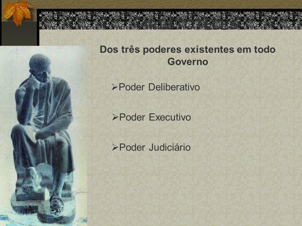 ARISTÓTELES Dos três poderes existentes em todo Governo Poder Deliberativo Poder Executivo Poder Judiciário
