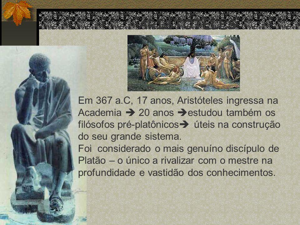 ARISTÓTELES Em 367 a.C, 17 anos, Aristóteles ingressa na Academia 20 anos estudou também os filósofos pré-platônicos úteis na construção do seu grande