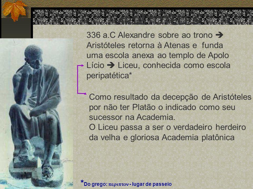 ARISTÓTELES 336 a.C Alexandre sobre ao trono Aristóteles retorna à Atenas e funda uma escola anexa ao templo de Apolo Lício Liceu, conhecida como esco