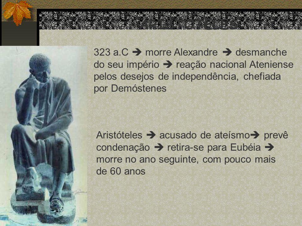 ARISTÓTELES 323 a.C morre Alexandre desmanche do seu império reação nacional Ateniense pelos desejos de independência, chefiada por Demóstenes Aristót