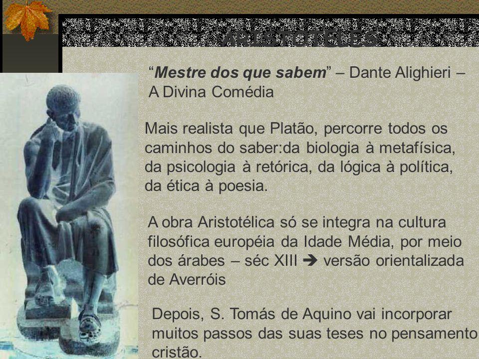 ARISTÓTELES Mestre dos que sabem – Dante Alighieri – A Divina Comédia Mais realista que Platão, percorre todos os caminhos do saber:da biologia à meta