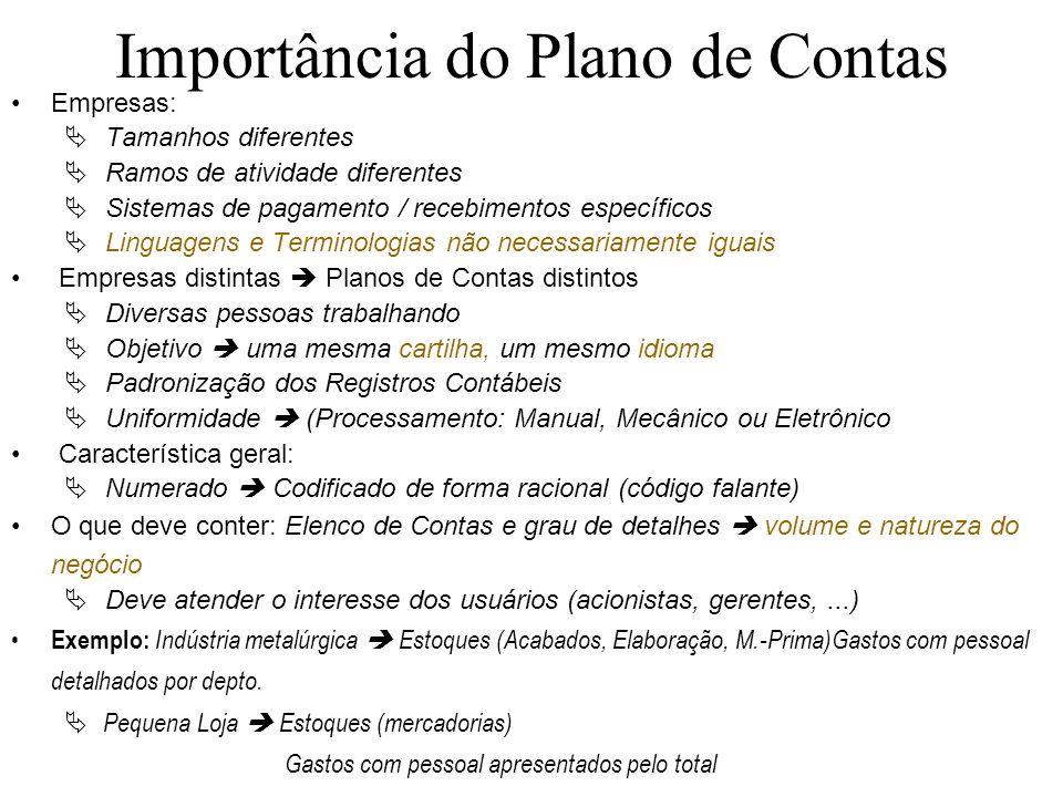 Importância do Plano de Contas Empresas: Tamanhos diferentes Ramos de atividade diferentes Sistemas de pagamento / recebimentos específicos Linguagens