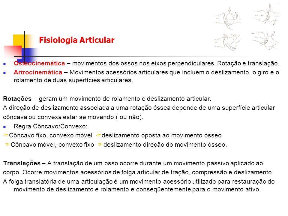 Fisiologia Articular Osteocinemática – movimentos dos ossos nos eixos perpendiculares. Rotação e translação. Artrocinemática – Movimentos acessórios a