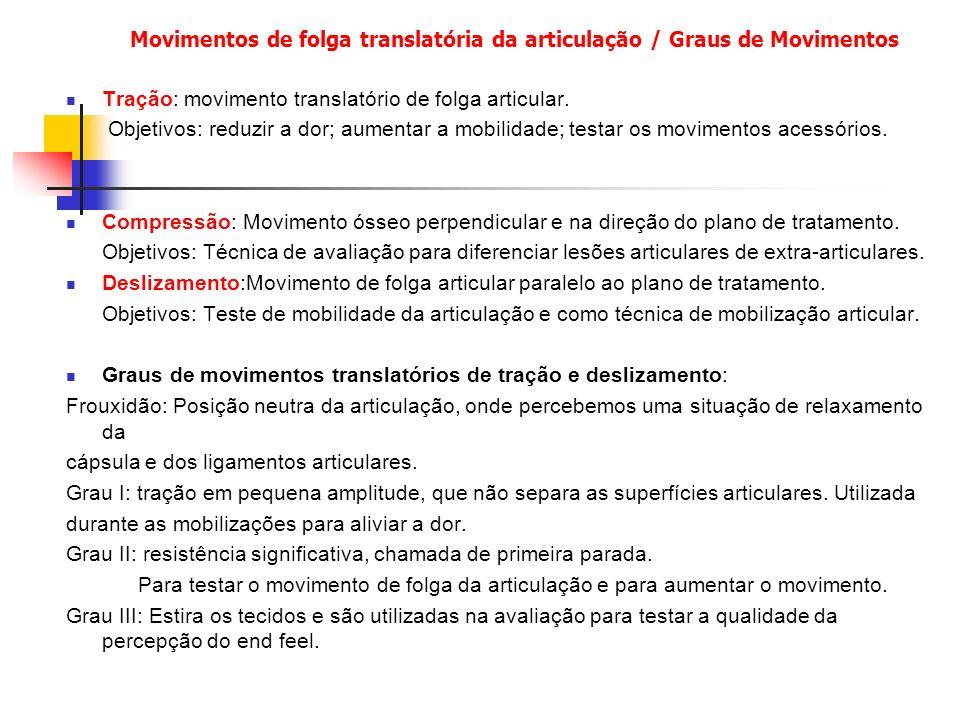 Movimentos de folga translatória da articulação / Graus de Movimentos Tração: movimento translatório de folga articular.