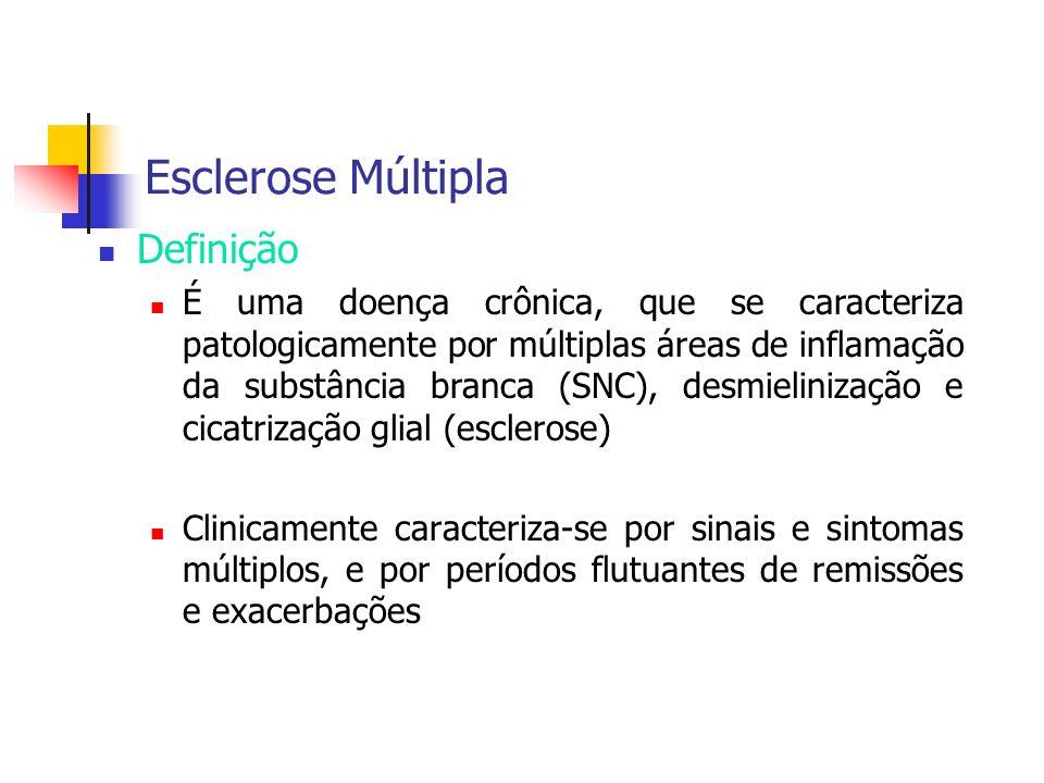 Esclerose Múltipla Definição É uma doença crônica, que se caracteriza patologicamente por múltiplas áreas de inflamação da substância branca (SNC), de
