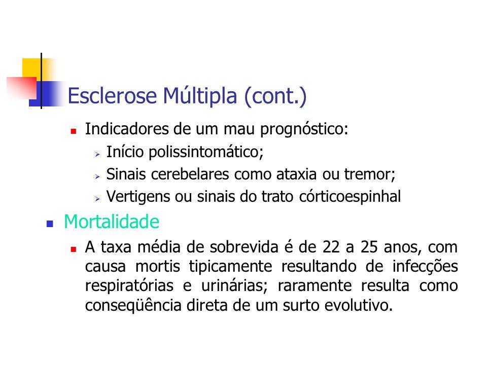 Esclerose Múltipla (cont.) Indicadores de um mau prognóstico: Início polissintomático; Sinais cerebelares como ataxia ou tremor; Vertigens ou sinais d