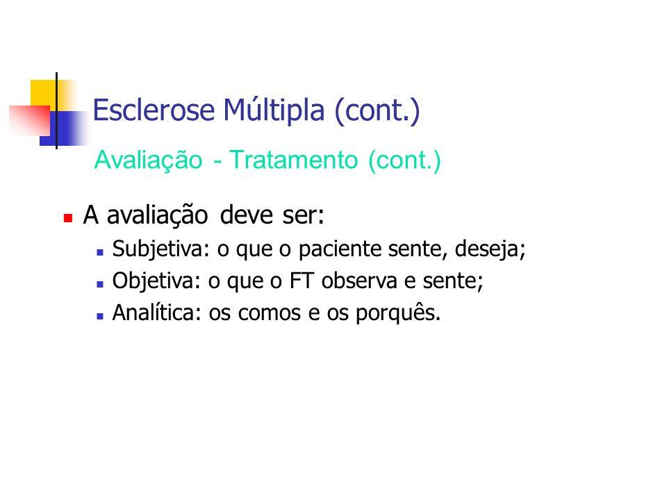 Esclerose Múltipla (cont.) Avaliação - Tratamento (cont.) A avaliação deve ser: Subjetiva: o que o paciente sente, deseja; Objetiva: o que o FT observ
