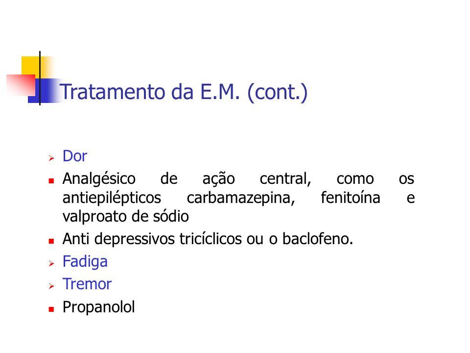Tratamento da E.M. (cont.) Dor Analgésico de ação central, como os antiepilépticos carbamazepina, fenitoína e valproato de sódio Anti depressivos tric