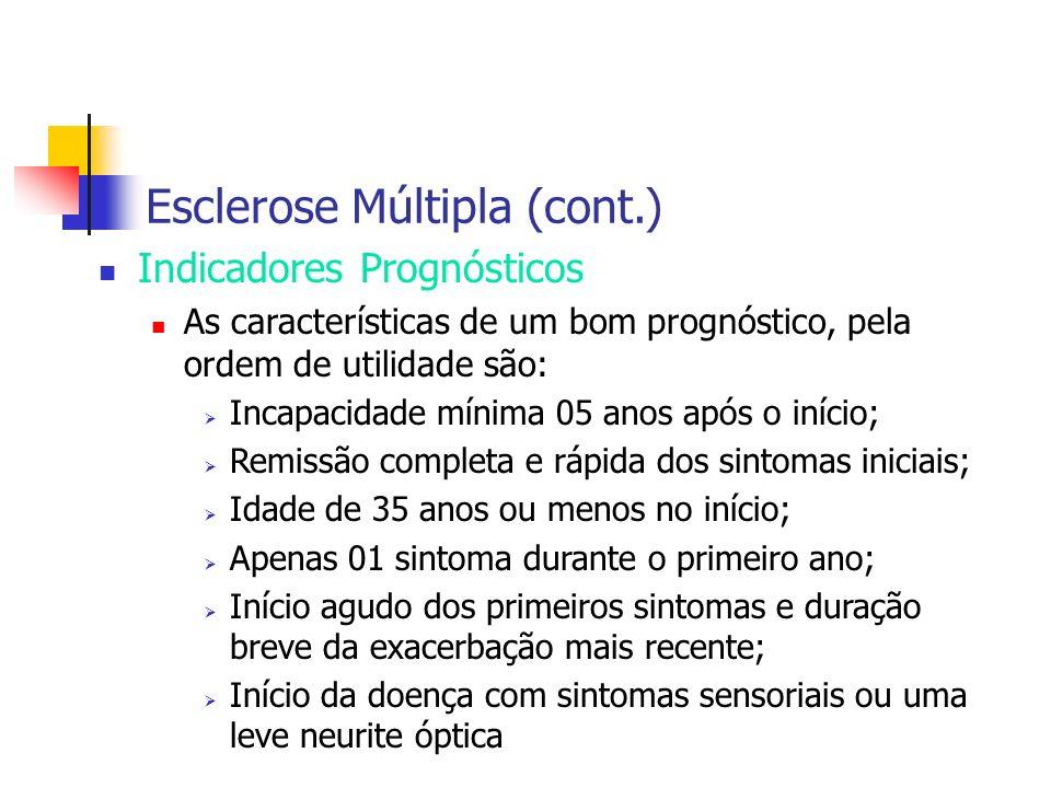 Esclerose Múltipla (cont.) Indicadores Prognósticos As características de um bom prognóstico, pela ordem de utilidade são: Incapacidade mínima 05 anos
