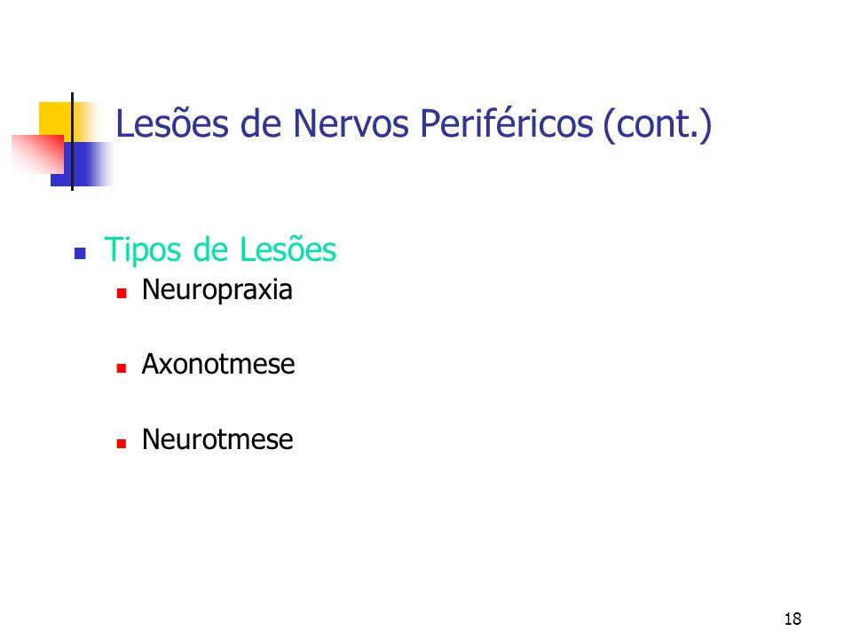 18 Lesões de Nervos Periféricos (cont.) Tipos de Lesões Neuropraxia Axonotmese Neurotmese