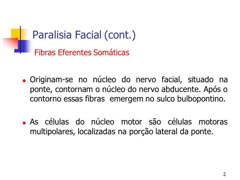 2 Paralisia Facial (cont.) Originam-se no núcleo do nervo facial, situado na ponte, contornam o núcleo do nervo abducente. Após o contorno essas fibra
