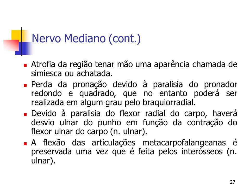 27 Nervo Mediano (cont.) Atrofia da região tenar mão uma aparência chamada de simiesca ou achatada. Perda da pronação devido à paralisia do pronador r