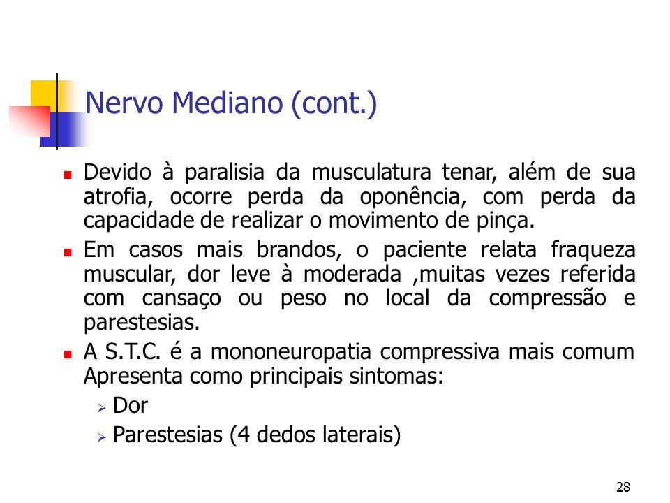 28 Nervo Mediano (cont.) Devido à paralisia da musculatura tenar, além de sua atrofia, ocorre perda da oponência, com perda da capacidade de realizar