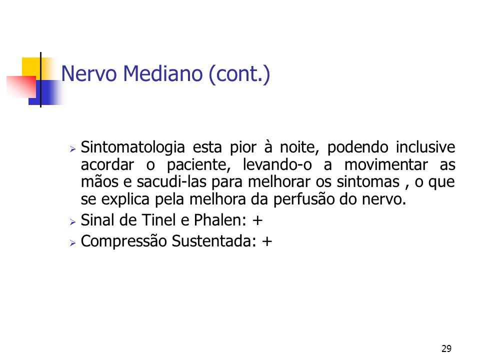 29 Nervo Mediano (cont.) Sintomatologia esta pior à noite, podendo inclusive acordar o paciente, levando-o a movimentar as mãos e sacudi-las para melh