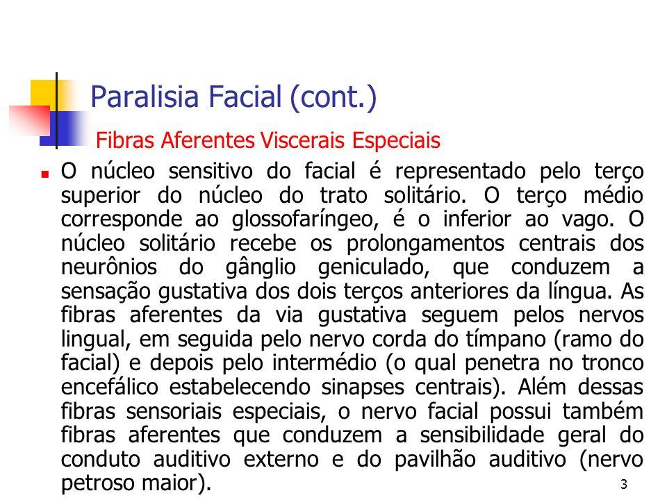 3 Paralisia Facial (cont.) O núcleo sensitivo do facial é representado pelo terço superior do núcleo do trato solitário. O terço médio corresponde ao