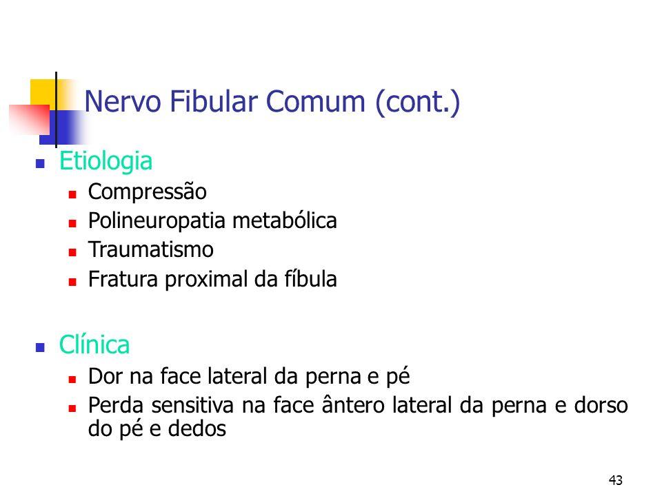 43 Nervo Fibular Comum (cont.) Etiologia Compressão Polineuropatia metabólica Traumatismo Fratura proximal da fíbula Clínica Dor na face lateral da pe