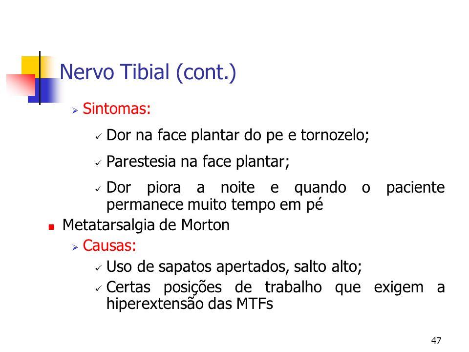 47 Nervo Tibial (cont.) Sintomas: Dor na face plantar do pe e tornozelo; Parestesia na face plantar; Dor piora a noite e quando o paciente permanece m