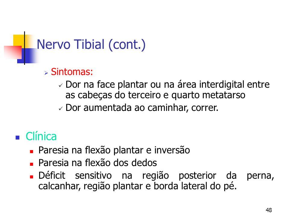 48 Sintomas: Dor na face plantar ou na área interdigital entre as cabeças do terceiro e quarto metatarso Dor aumentada ao caminhar, correr. Clínica Pa